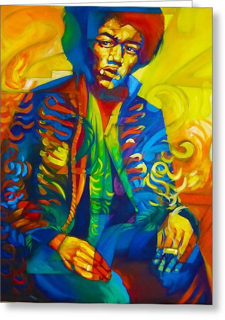 Jimi Hendrix Drawings Greeting Cards - Jimi 27 Greeting Card by Steve Hunter