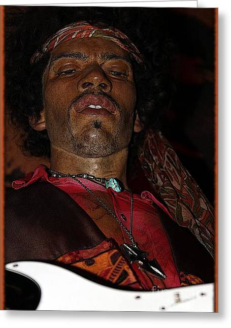 Statue Portrait Photographs Greeting Cards - Jimi Hendrix Cartoon Greeting Card by Sophie Vigneault