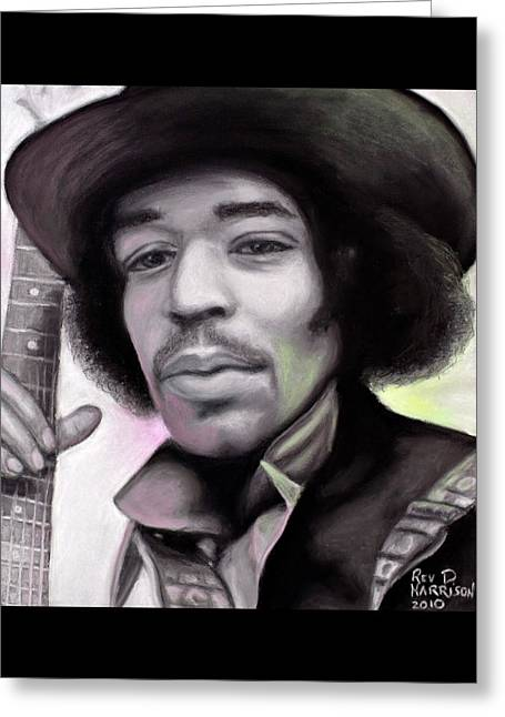 Music Pastels Greeting Cards - Jimi Hendrix Greeting Card by Dennis Jones