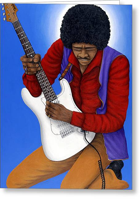 Sixties Music Greeting Cards - Jimi Hendrix  Greeting Card by Larry Smart