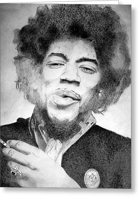 Johnny Allen Hendrix Greeting Cards - Jimi Hendrix - Small Greeting Card by Robert Lance