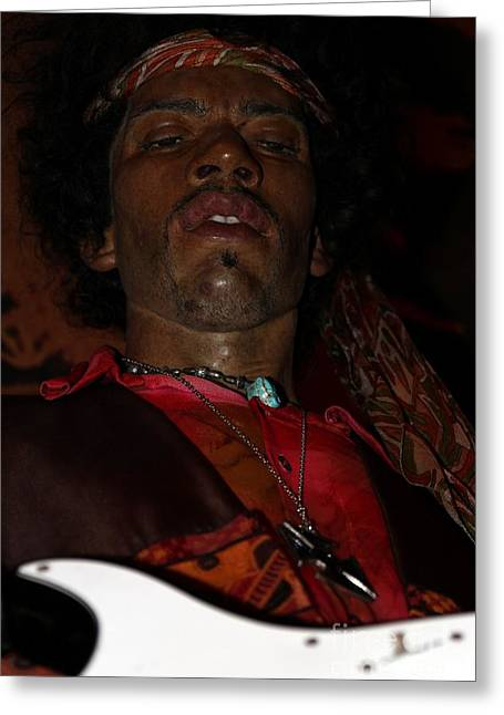 Statue Portrait Greeting Cards - Jimi Hendrix Greeting Card by Sophie Vigneault