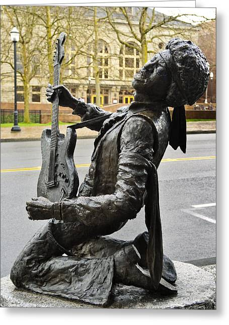 Guitar Sculpture Greeting Cards - Jimi Hendrix Statue Greeting Card by Greg Vaughn - Printscapes