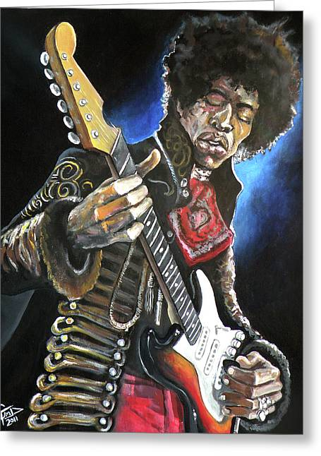 National Anthem Greeting Cards - Jimi Hendrix Greeting Card by Tom Carlton
