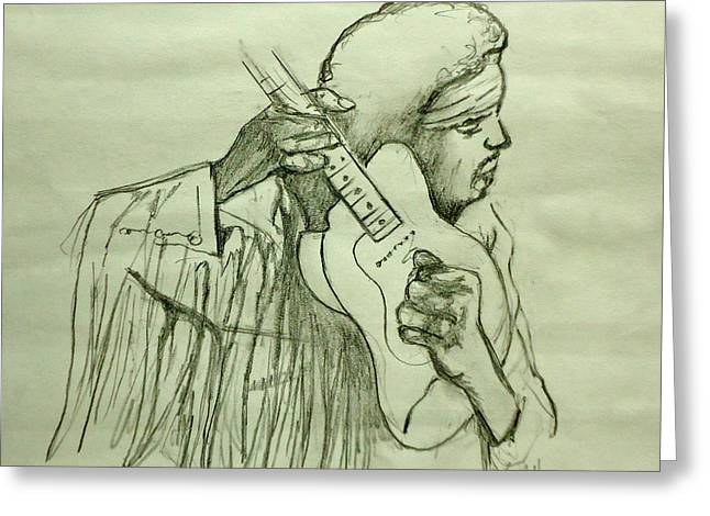 Stratocaster Drawings Greeting Cards - Jimi Sketch Greeting Card by Pete Maier