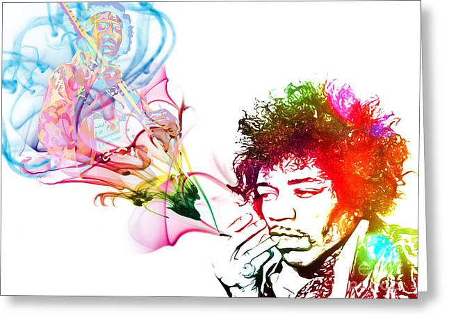 Pop Singer Mixed Media Greeting Cards - Jimmi Hendrix Greeting Card by The DigArtisT