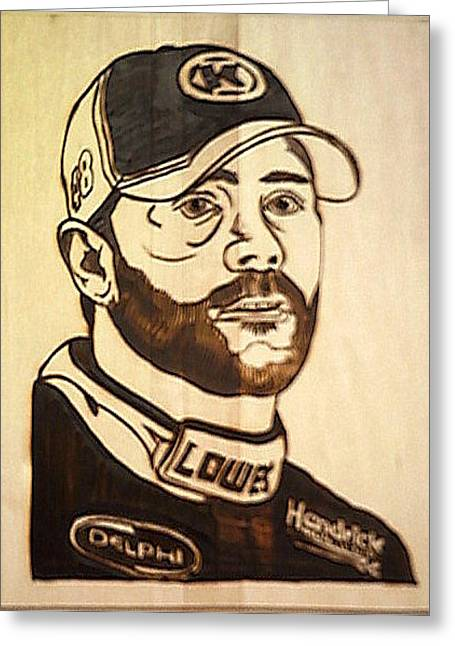 Jimmie Johnson Greeting Cards - Jimmie Johnson No 48 NASCAR Greeting Card by Timothy Wilkerson