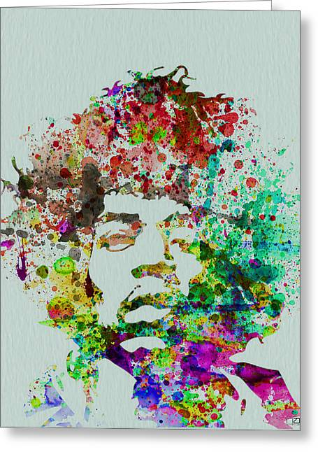 Rock Greeting Cards - Jimmy Hendrix watercolor Greeting Card by Naxart Studio