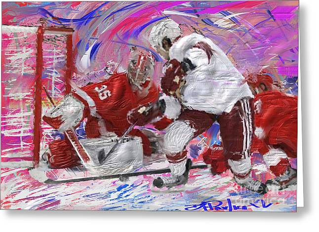 Hockey Paintings Greeting Cards - Jimmy Howard II Greeting Card by Donald Pavlica