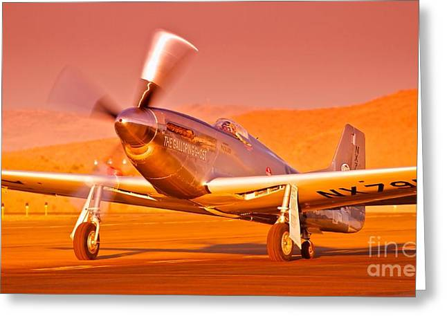 Mccrea Greeting Cards - Jimmy Leeward and The Galloping Ghost Overtime Sunset Takeoff Greeting Card by Gus McCrea