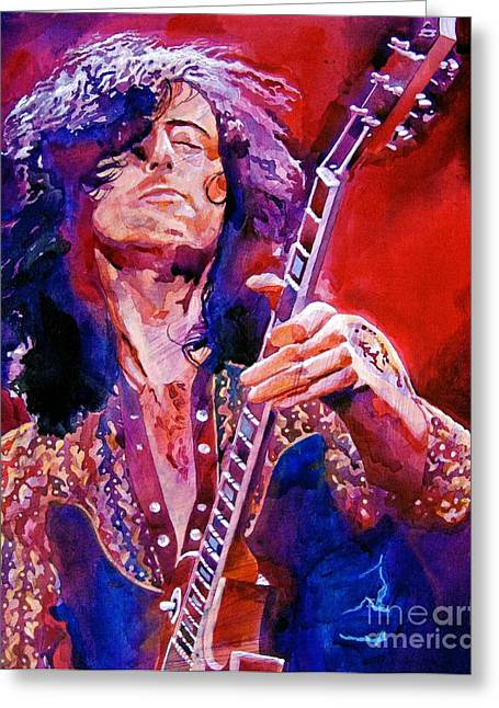 Page Greeting Cards - Jimmy Page Greeting Card by David Lloyd Glover