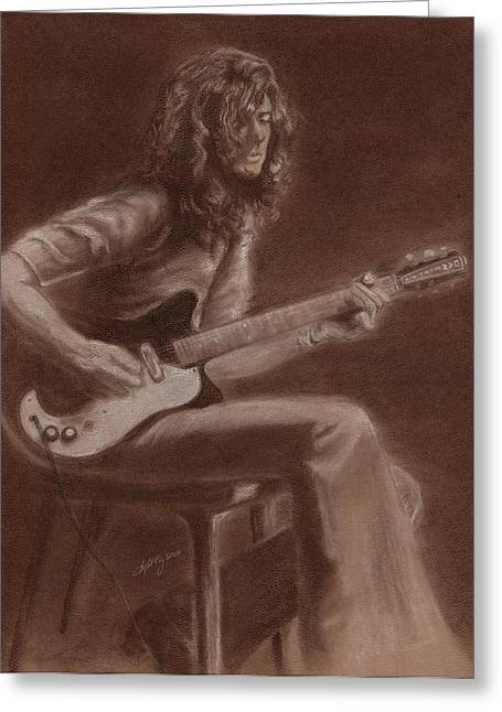 Led Zeppelin Prints Greeting Cards - Jimmy Page Greeting Card by Kathleen Kelly Thompson