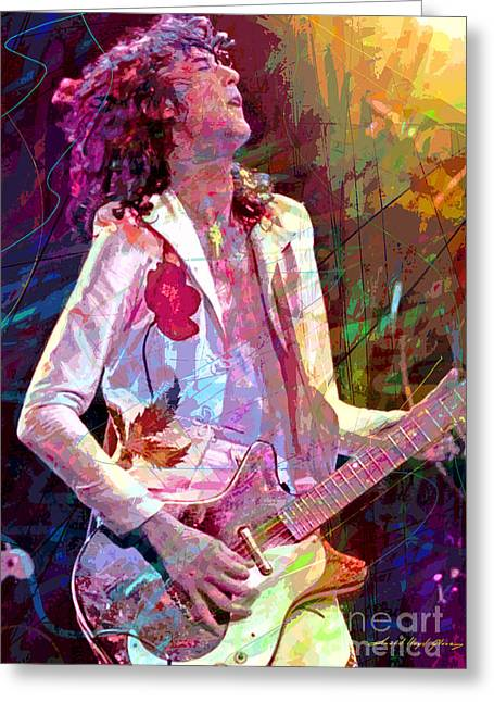 Live Performance Greeting Cards - Jimmy Page Led Zep Greeting Card by David Lloyd Glover