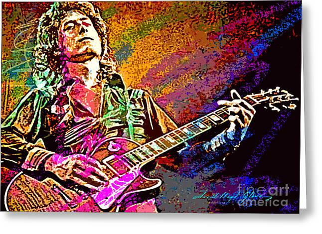 Les Greeting Cards - Jimmy Page Les Paul Gibson Greeting Card by David Lloyd Glover