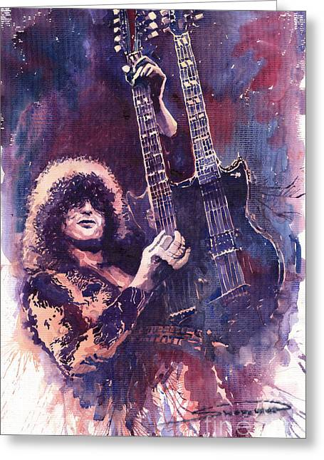 Page Greeting Cards - Jimmy Page  Greeting Card by Yuriy  Shevchuk
