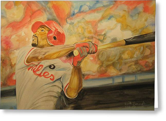 Portaits Mixed Media Greeting Cards - Jimmy Rollins Greeting Card by Keith Hancock