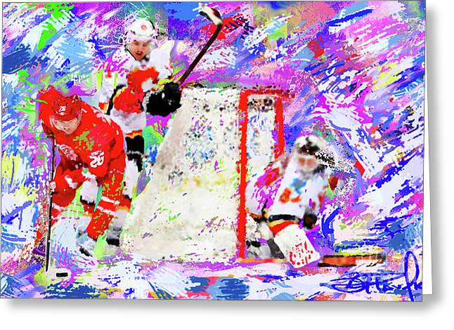 Hockey Paintings Greeting Cards - Jiri Hudler Greeting Card by Donald Pavlica