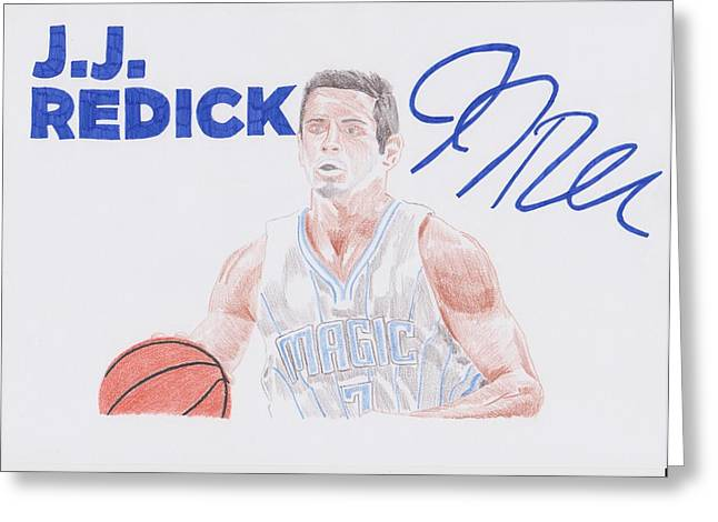 Player Drawings Greeting Cards - J.J Redick Greeting Card by Toni Jaso