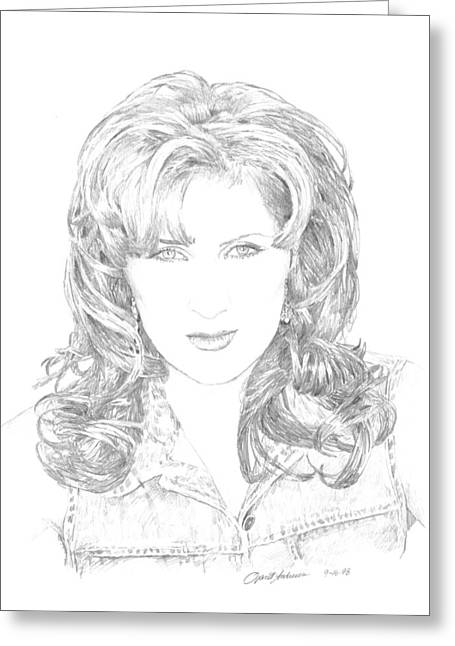 Nashville Drawings Greeting Cards - Jo Dee Messina Greeting Card by Jan Andrews