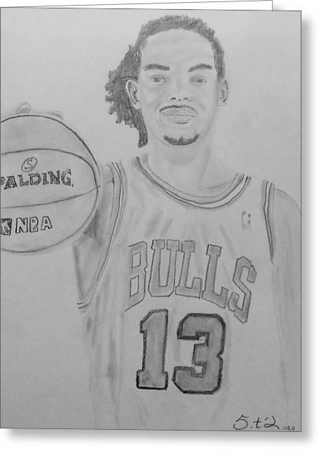 Chicago Bulls Drawings Greeting Cards - Joakim Noah Greeting Card by Estelle BRETON-MAYA