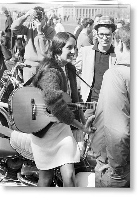 Political Rally Greeting Cards - Joan Baez March on Washington 1966 Greeting Card by Jan Faul