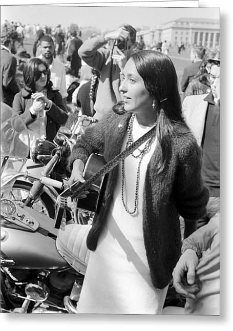 Rally Greeting Cards - Joan Baez Washington DC 1966 Greeting Card by Jan Faul