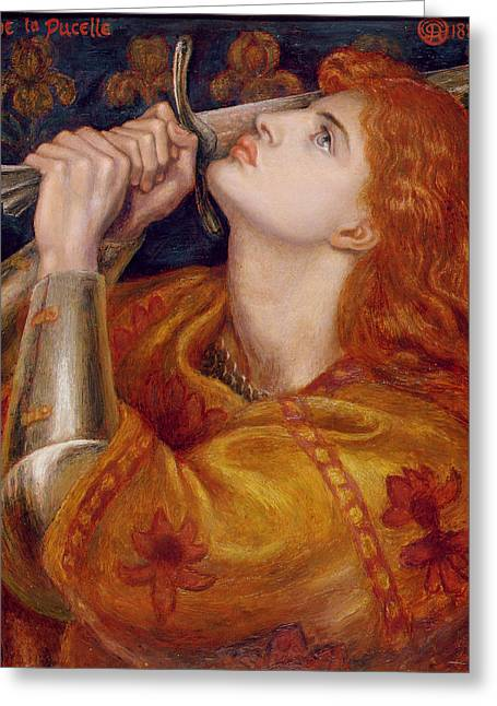 Stake Greeting Cards - Joan of Arc Greeting Card by Dante Charles Gabriel Rossetti