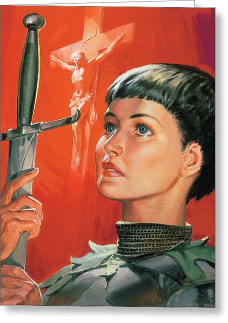 Pensive Greeting Cards - Joan of Arc Greeting Card by James Edwin McConnell