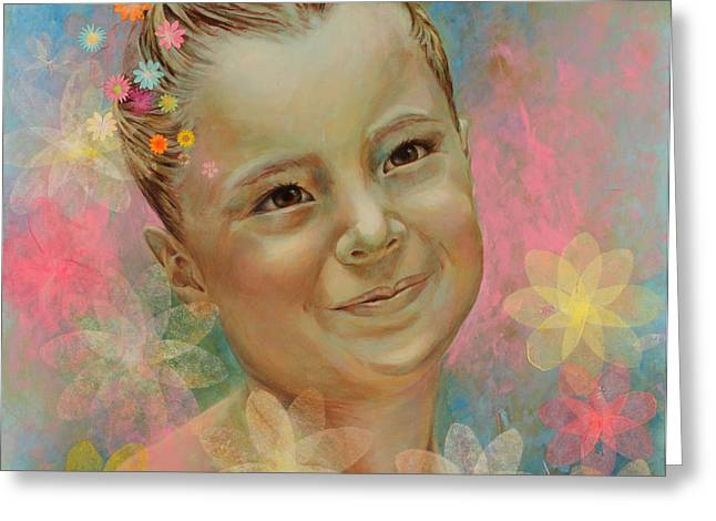 Innocence Greeting Cards - Joanas portrait Greeting Card by Karina Llergo Salto