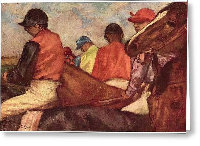 Race Horse Greeting Cards - Jockeys Greeting Card by Edgar Degas