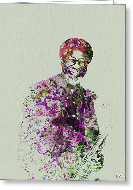 Jazz Band Greeting Cards - Joe Henderson Watercolor  Greeting Card by Naxart Studio