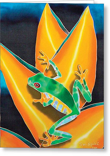 Botanicals Tapestries - Textiles Greeting Cards - Joes Treefrog Greeting Card by Daniel Jean-Baptiste