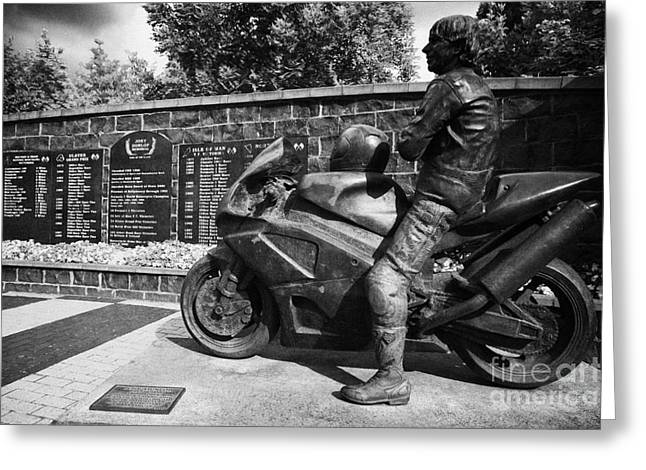 Ballymoney Greeting Cards - Joey Dunlop memorial garden Ballymoney Greeting Card by Joe Fox