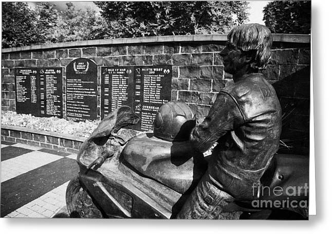 Ballymoney Greeting Cards - Joey Dunlop memorial garden in Ballymoney county antrim Greeting Card by Joe Fox