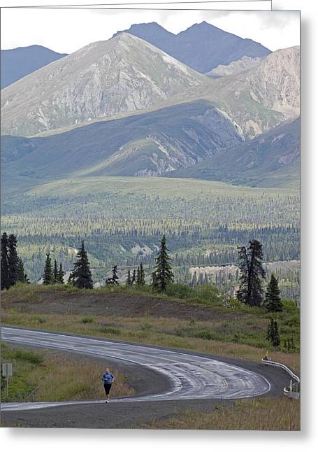 Jogging Greeting Cards - Jogger On The Glenn Highway And Chugach Greeting Card by Rich Reid