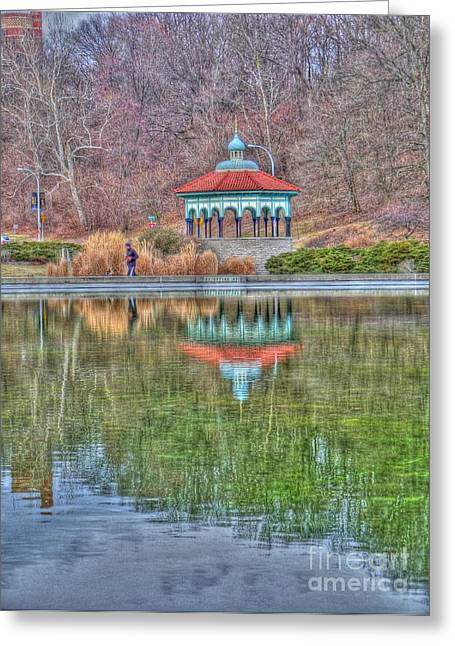 Mt. Airy Greeting Cards - Jogging past the pagoda Greeting Card by David Bearden