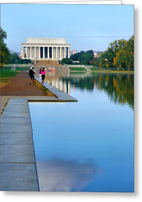 Jogging Greeting Cards - Jogging to the Memorial Greeting Card by Steven Ainsworth