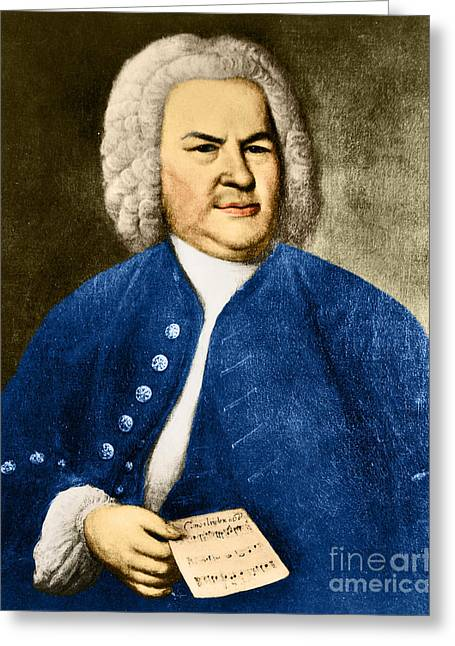 Johann Sebastian Bach Greeting Cards - Johann Sebastian Bach, German Baroque Greeting Card by Photo Researchers