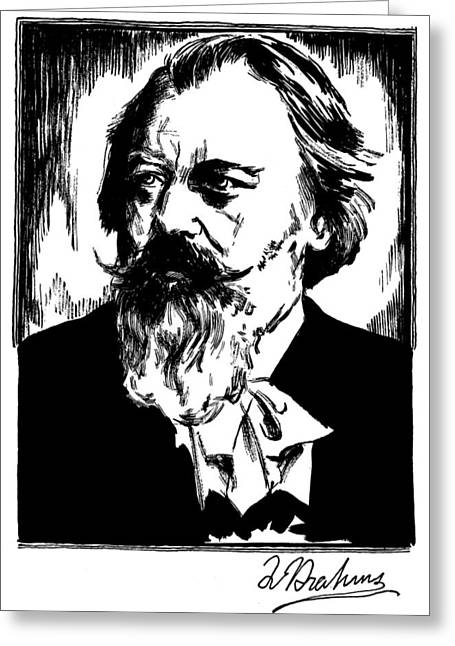 Brahms Greeting Cards - Johannes Brahms (1833-1897) Greeting Card by Granger