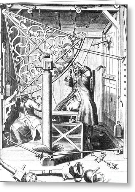 Johannes Hevelius And His Assistant Greeting Card by Science Source
