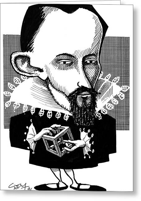 Platonic Greeting Cards - Johannes Kepler, Caricature Greeting Card by Gary Brown
