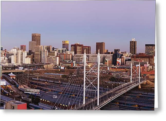Johannesburg Greeting Cards - Johannesburg Skyline and Railway Station Greeting Card by Jeremy Woodhouse