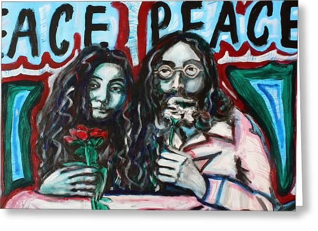 John and Yoko Greeting Card by Hannah Curran