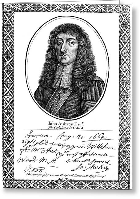 John Aubrey (1626-1697) Greeting Card by Granger
