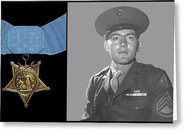 Navy Cross Greeting Cards - John Basilone and The Medal of Honor Greeting Card by War Is Hell Store