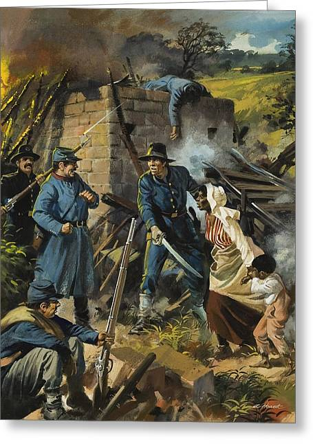 Abolitionist Paintings Greeting Cards - John Brown on 30 August 1856 Intercepting a Body of Pro-Slavery Men Greeting Card by Andrew Howart