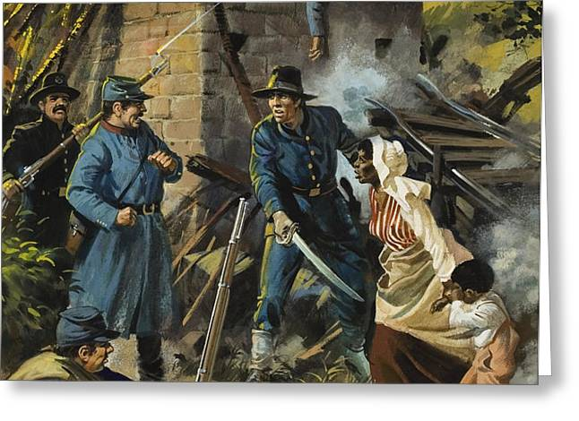John Brown on 30 August 1856 Intercepting a Body of Pro-Slavery Men Greeting Card by Andrew Howart