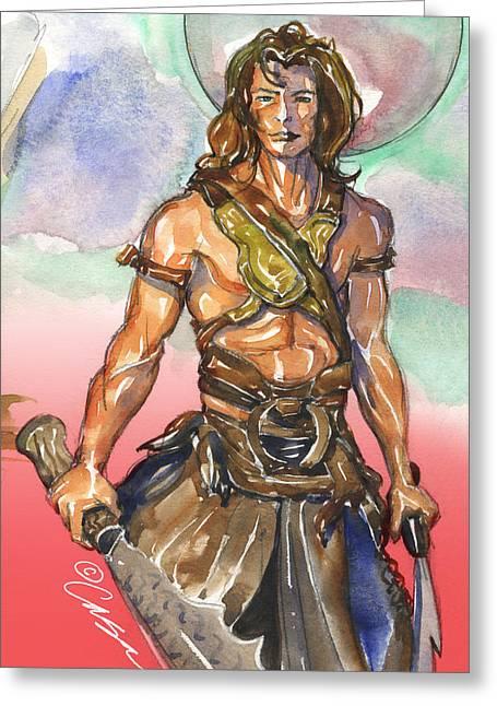 Heroic Red Men Greeting Cards - John Carter Greeting Card by Daveed Casa
