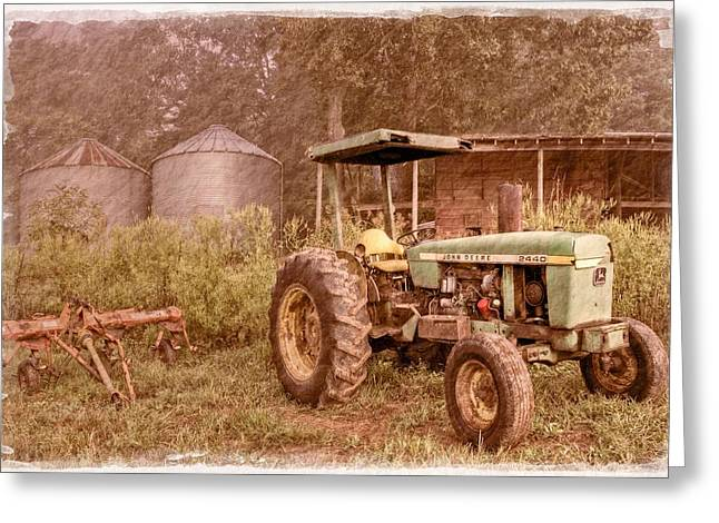 Old House Photographs Greeting Cards - John Deere Antique Greeting Card by Debra and Dave Vanderlaan