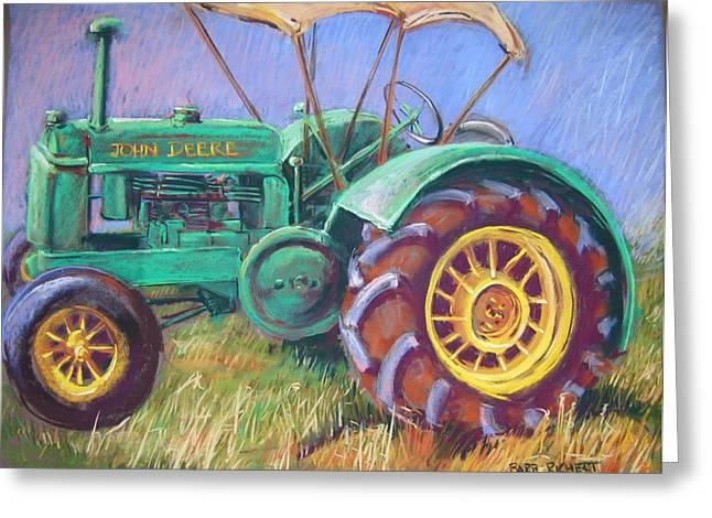 Farming Pastels Greeting Cards - John Deere Greeting Card by Barbara Richert